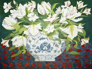 White Double Tulips and Alstroemerias, 2013 by Jennifer Abbott