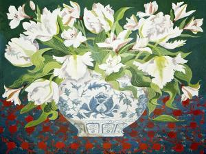 White Double Tulips and Alstroemerias, 2013 by Jennifer Abbott