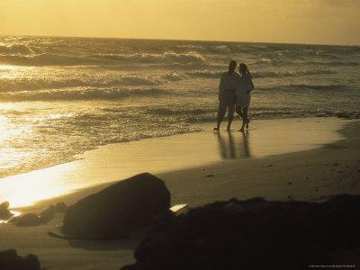 Aruba, Couple Walking on Beach