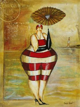 Vintage Beach Girl Red Stripes by Jennifer Garant