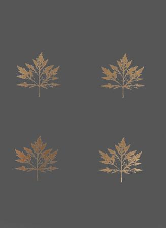 4-Up Rose Gold Foil Leaf I on Dark Grey by Jennifer Goldberger