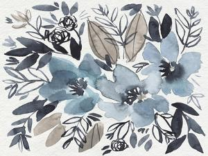 Blue & Paynes Blooms I by Jennifer Goldberger