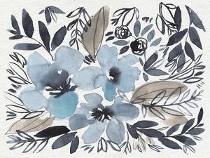Blue & Paynes Blooms II by Jennifer Goldberger