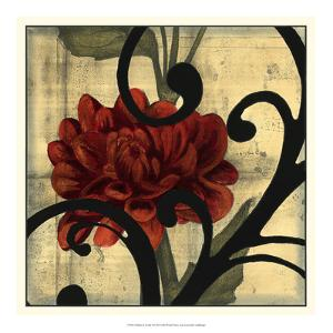 Dahlias and Scrolls I by Jennifer Goldberger