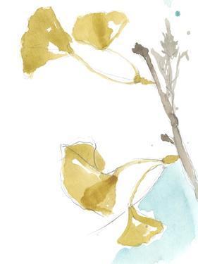 Ginkgo on Dusty Teal IV by Jennifer Goldberger