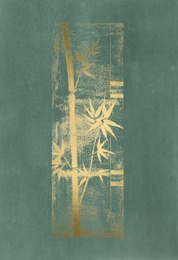 Gold Foil Bamboo I on Blue Green Wash by Jennifer Goldberger