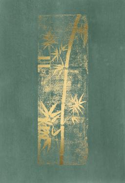 Gold Foil Bamboo II on Blue Green Wash by Jennifer Goldberger