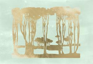 Gold Foil Nouveau Treeline on Seafoam Wash by Jennifer Goldberger