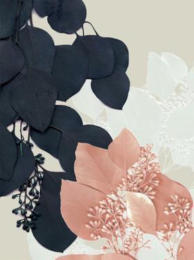 Indigo & Blush Leaves III by Jennifer Goldberger