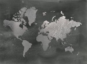 Large Silver Foil World Map on Black by Jennifer Goldberger