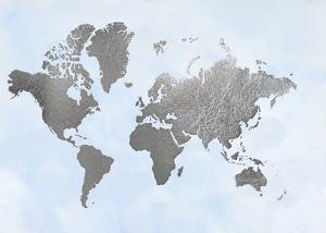 Large Silver Foil World Map on Blue by Jennifer Goldberger