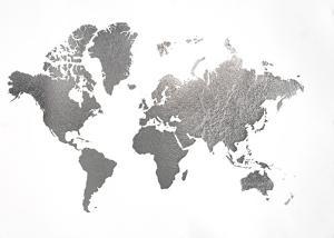 Large Silver Foil World Map by Jennifer Goldberger