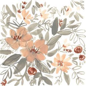 Peach & Rust Blooms I by Jennifer Goldberger