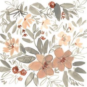 Peach & Rust Blooms II by Jennifer Goldberger