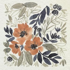 Sienna & Paynes Flowers II by Jennifer Goldberger