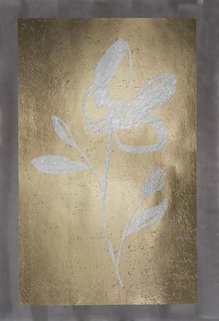 Silver Foil Sumi-e I on Gold Foil & Sepia Wash by Jennifer Goldberger