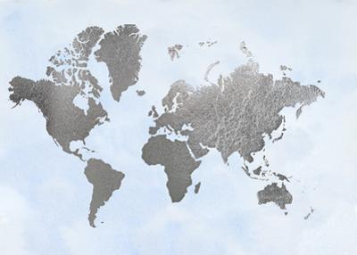 Silver Foil World Map on Blue by Jennifer Goldberger