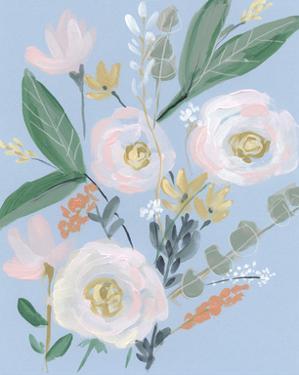 Spring Bouquet on Blue II by Jennifer Goldberger
