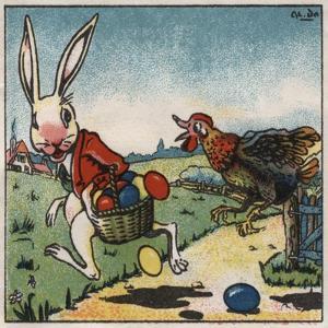Easter Rabbit and Chicken Illustration on Egg Dye Packaging by Jennifer Kennard