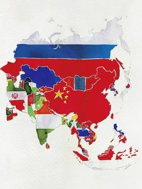 Watercolor Flag Map of Asia by Jennifer Maravillas