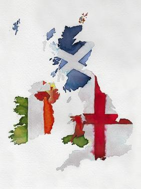 Watercolor Flag Map of United Kingdom and Ireland by Jennifer Maravillas