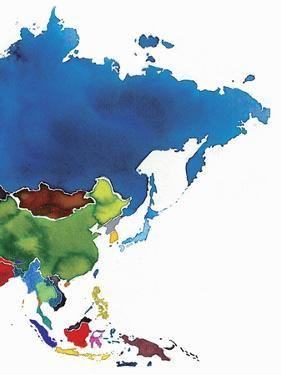 Watercolor Map of East and South East Asia by Jennifer Maravillas