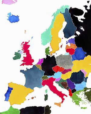 Watercolor Map of Europe by Jennifer Maravillas