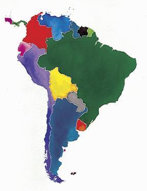 Watercolor Map of South America by Jennifer Maravillas