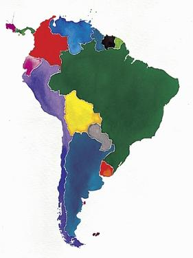 Watercolor Map of South America by Jennifer Maravillas