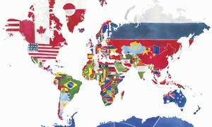 Watercolor Map of the World and National Flags by Jennifer Maravillas