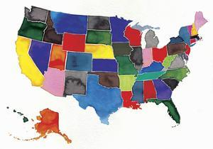 Watercolor Map of United States and Alaska by Jennifer Maravillas