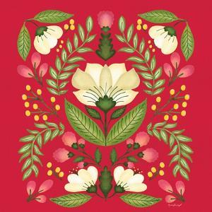 Folk Floral in Red by Jennifer Pugh