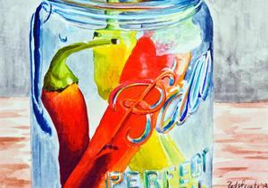 Ball Jar with Tree Peppers by Jennifer Redstreake Geary
