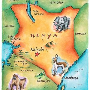 Map of Kenya by Jennifer Thermes