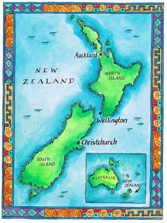 Map of New Zealand by Jennifer Thermes