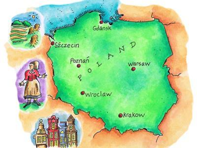 Map of Poland by Jennifer Thermes
