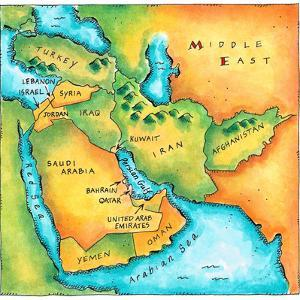 Map of the Middle East by Jennifer Thermes