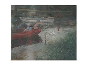 Children Sailing a Yacht by Jennifer Wright