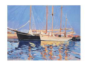 Moored Sailing Ships, Skagen, Denmark, 1999 by Jennifer Wright