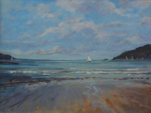 Northsands Salcombe, Sailing , 2016 by Jennifer Wright