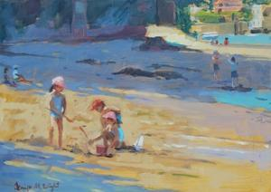 Salcombe Beach, Children by Jennifer Wright