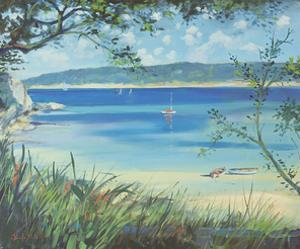 Salcombe, Southsands Beach, 2000 by Jennifer Wright