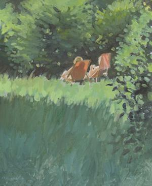 Two Ladies Relaxing In Sun by Jennifer Wright