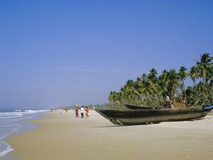 Palm Trees and Fishing Boats, Colva Beach, Goa, India by Jenny Pate