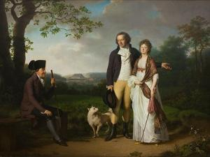 Niels Ryberg with His Son Johan Christian and His Daughter-In-Law Engelke, Née Falbe, 1797 by Jens Juel