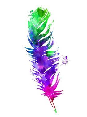 Purple and Green Feather Watercolor by Jensen Adamsen