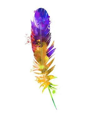 Purple and Yellow Feather Watercolor by Jensen Adamsen
