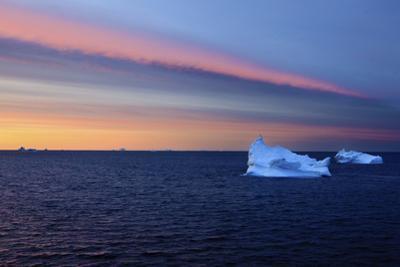 Icebergs at Dusk, Qeqertarsuaq, Disko Bay, Greenland, August 2009