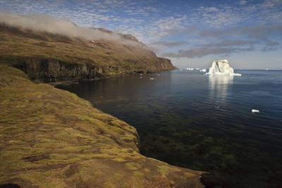 Icebergs Off the Coast with Low Clouds over Cliffs, Qeqertarsuaq, Disko Bay, Greenland, August