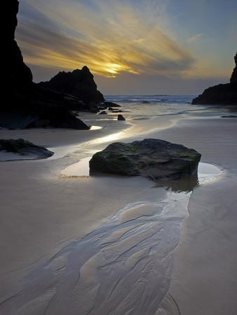 Evening, Bedruthan Steps, Cornwall, England, United Kingdom, Europe
